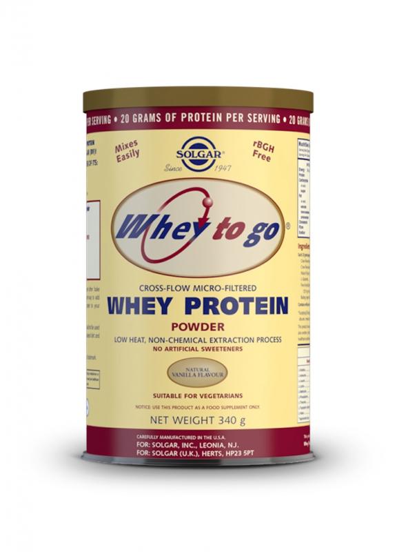 Značky - Solgar Whey To Go – Syrovátkový proteinový prášek s přírodní vanilkovou příchutí 340 g